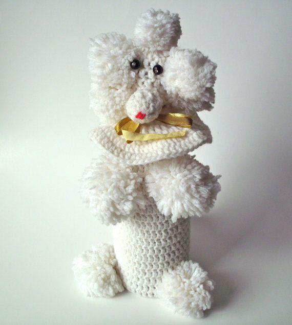 Vintage Knitted Poodle Dog Wine Cozy by PoorLittleRobin on Etsy, $20.00