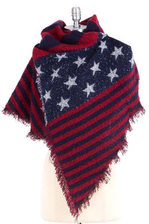 SUPER SOFT AMERICAN FLAG SCARF