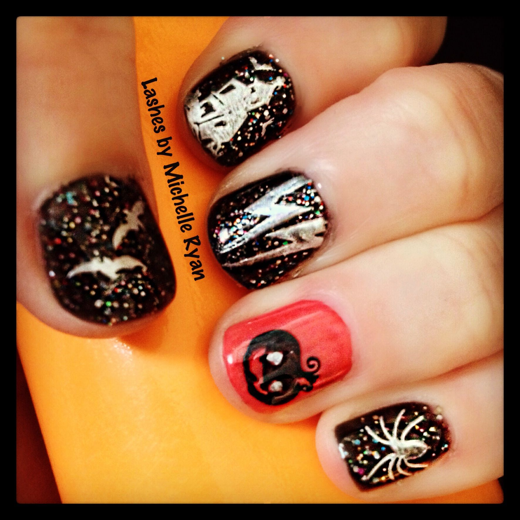 Halloween nail art in Gellux   #halloween #nailart #norwich #gellux  Find me on Facebook: lashes by Michelle Ryan #halloweennailart