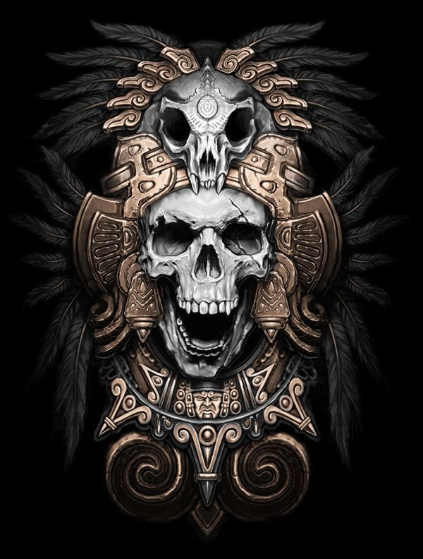 Teskatlipoka by Kamila , via Behance #skull #illustration #dark: