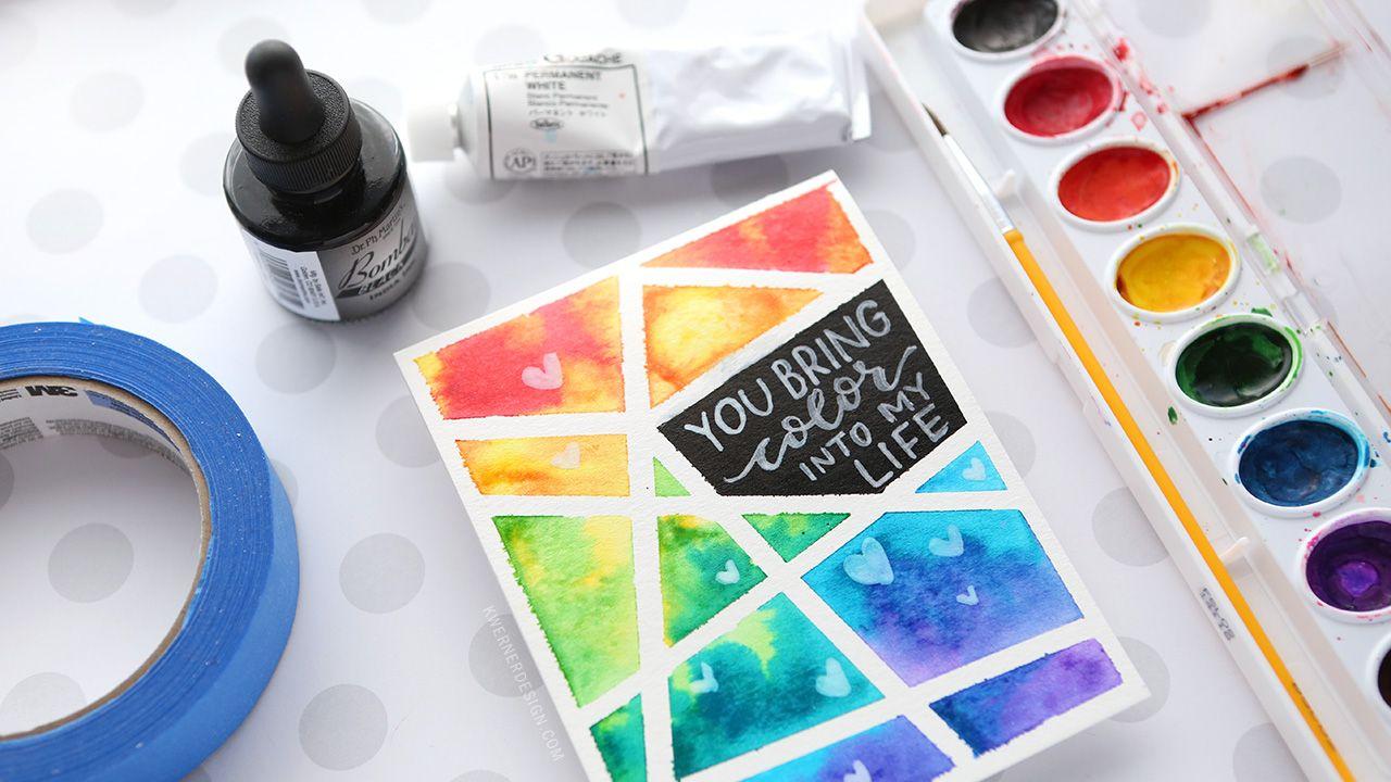 Easy Diy Taped Watercolor Minimal Supplies Needed Watercolor