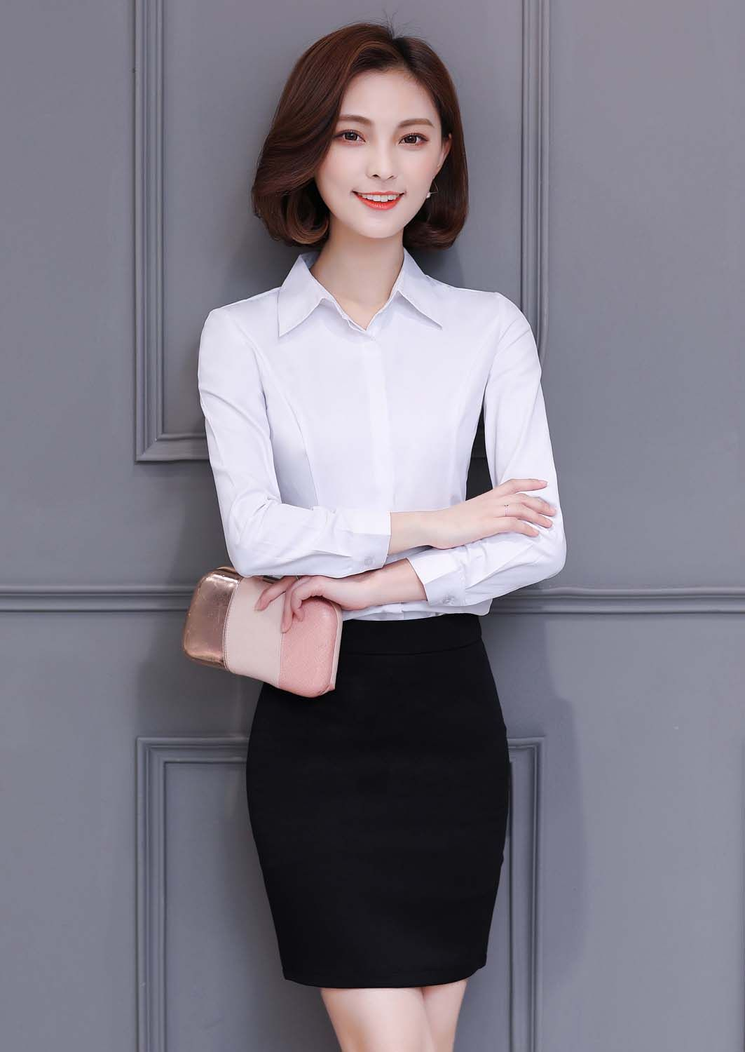 1ad49611c16f4d Women's #white long sleeve button #shirts simple plain, Concealed button  placket, casual, outdoor, leisure, work Occasions