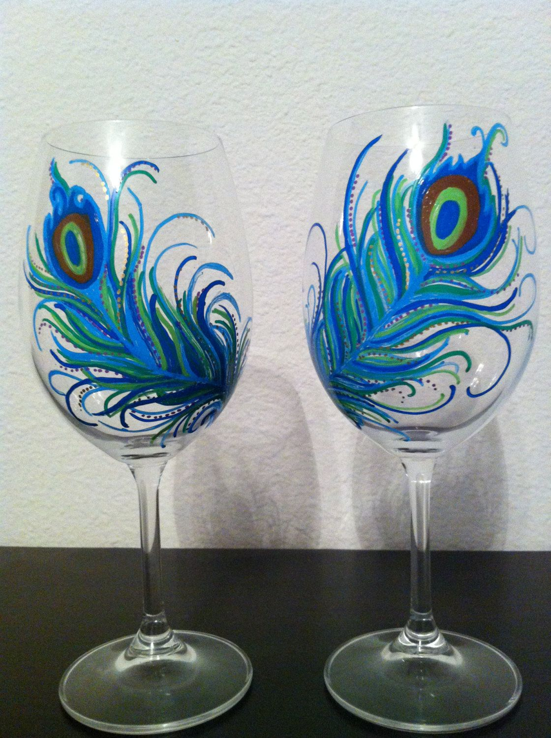 Hand Painted Peacock Feather Wine Glasses By