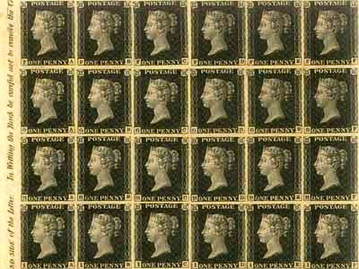 A large mint block of the Penny Black. The idea of an adhesive stamp to indicate pre-payment of postage was part of Sir Rowland Hill's 1837 proposals to reform the British postal system; it was normal then for the recipient to pay postage on delivery. A companion idea, which Hill disclosed on 13 February 1837 at a government enquiry, was that of a separate sheet that folded to form an enclosure or envelope for carrying letters.