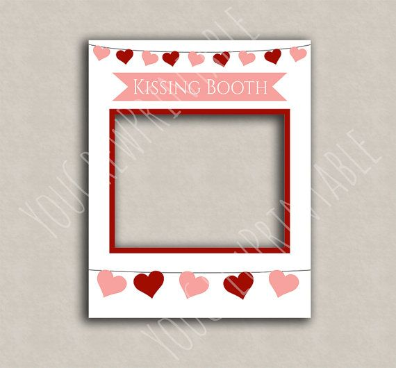 Kissing Booth printable diy frame, photo booth frame, valentines day ...