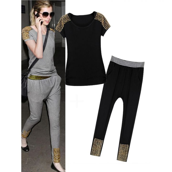 Western Two Pieces Suits Short Sleeve Harem Pants Rivets Tee