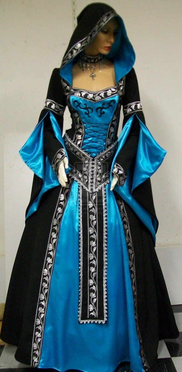 wiccan wedding dress Gowns Pagan Wicca Witch Hooded Roses pink instead of blue