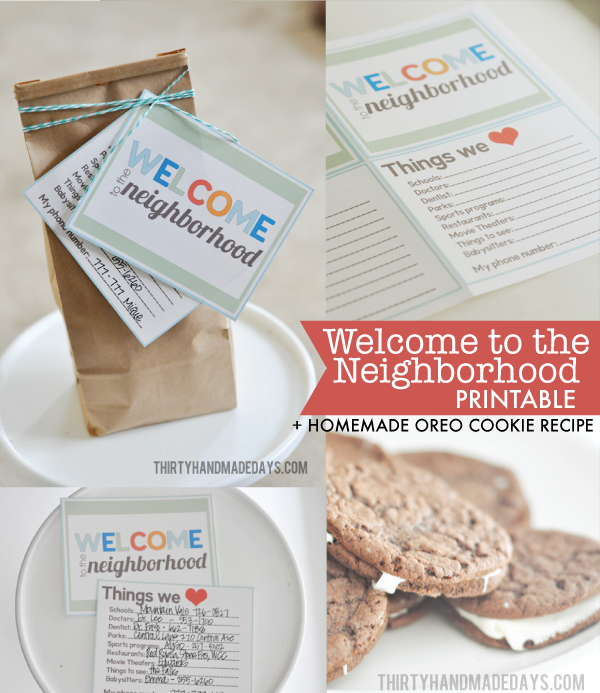 Welcome To The Neighborhood Printable Kit Homemade Oreo Cookie Recipe Share Your Favorites