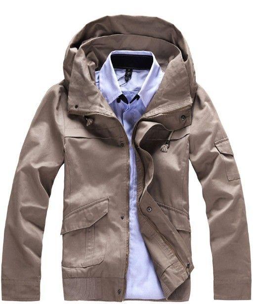 Men Casual Warm Hood Korean Style Slim Thicken Khaki Cotton Long Sleeve Coat M/XL/XXL @WH0245k