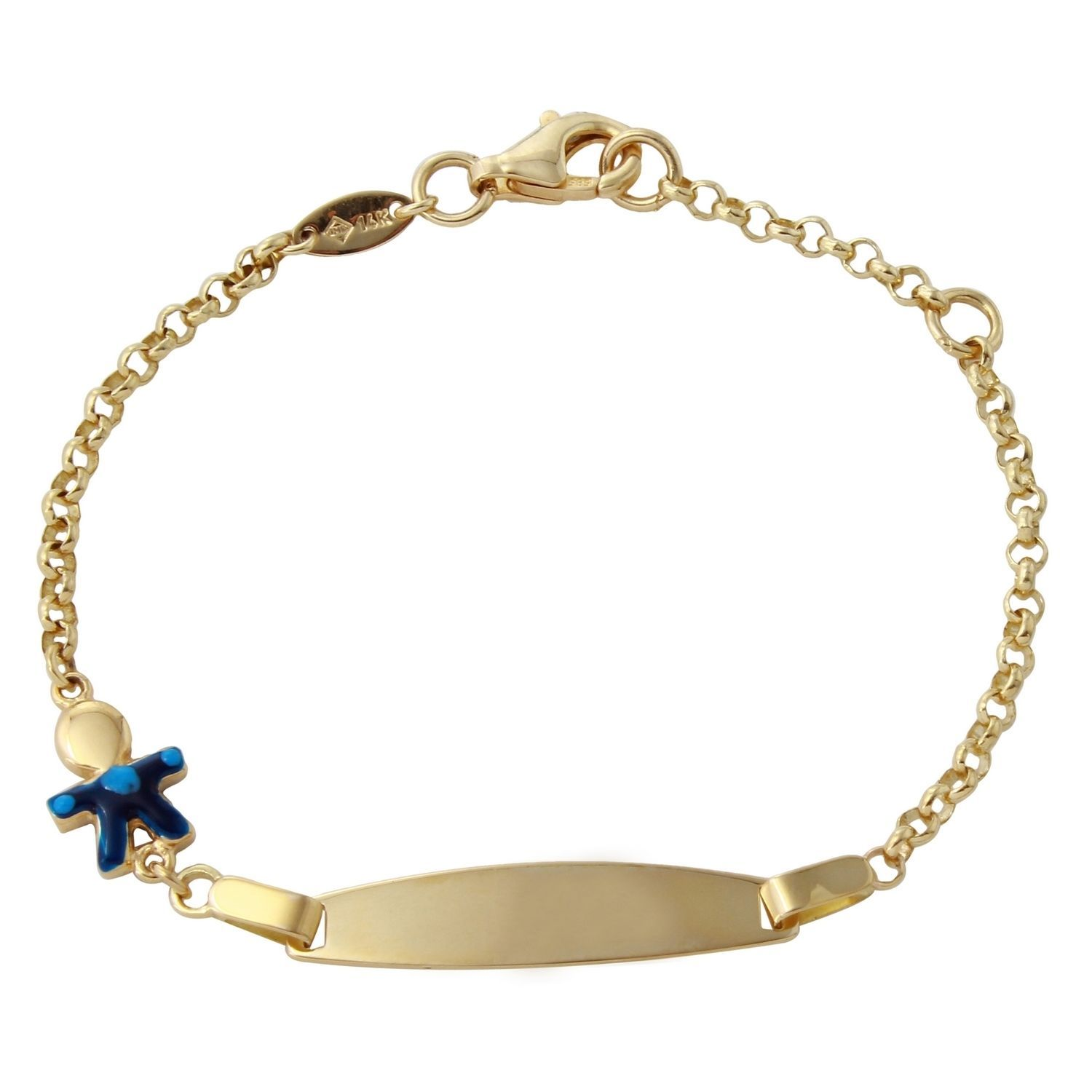 14k Yellow Gold Baby ID Cuban Link Bracelet 6 Inches Bracelet With Name Plate