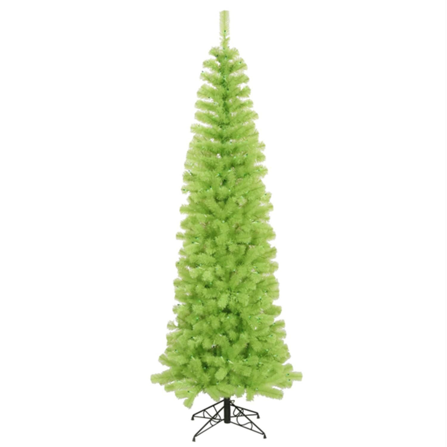 9 Pre Lit Chartreuse Green Artificial Pencil Christmas Tree  Green