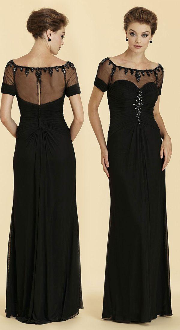 dbc9cac11 Sheath-Column Illusion Floor Length English Net Black Short Sleeve Zipper  Mother Of The Bride Dress Beading 2023 #motherdresses#customdresses  #cocomelody ...