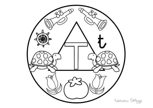 Mandalas del abecedario para colorear: Letra T | LECTOESCRITURA ...