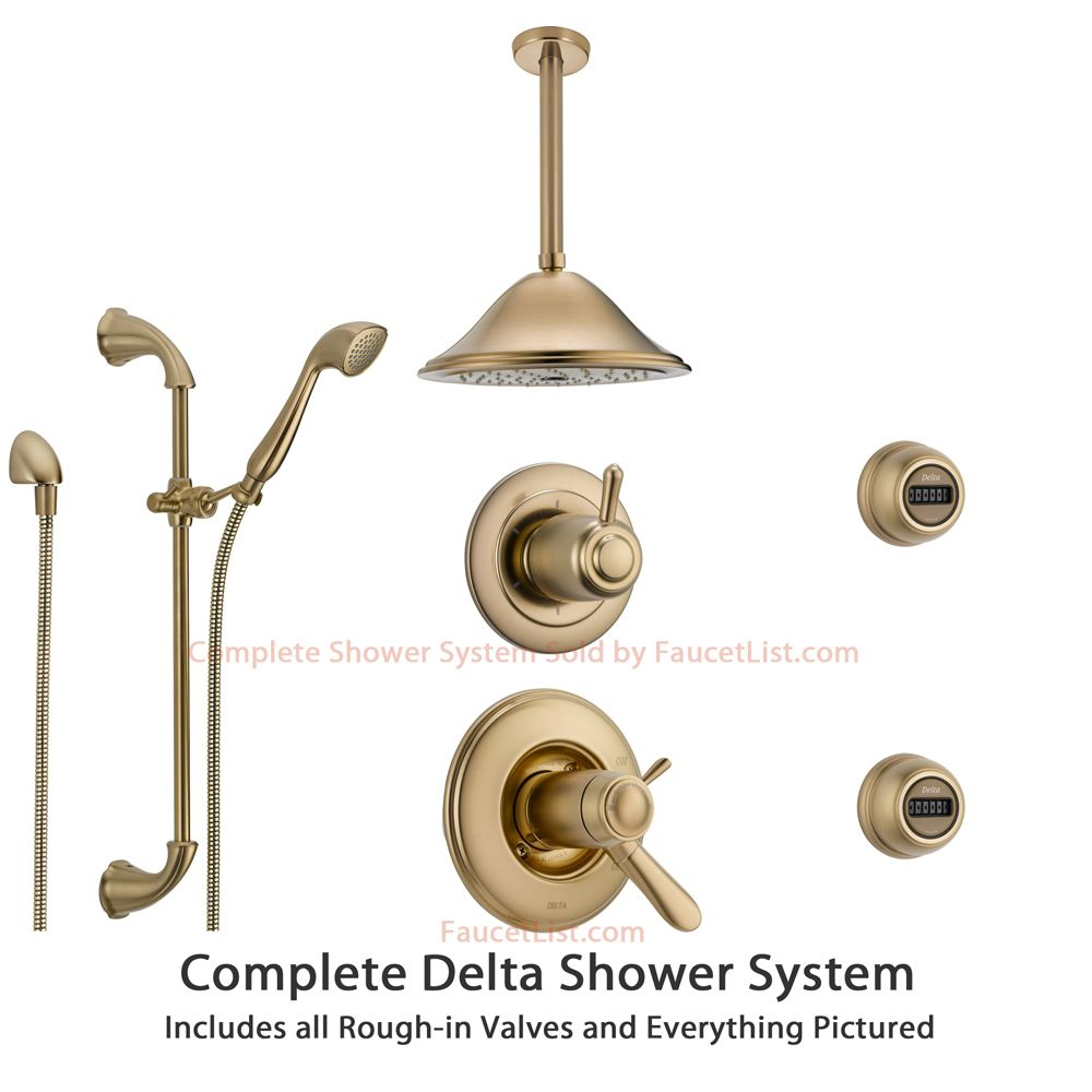 delta lahara champagne bronze shower system with shower handle 6setting diverter