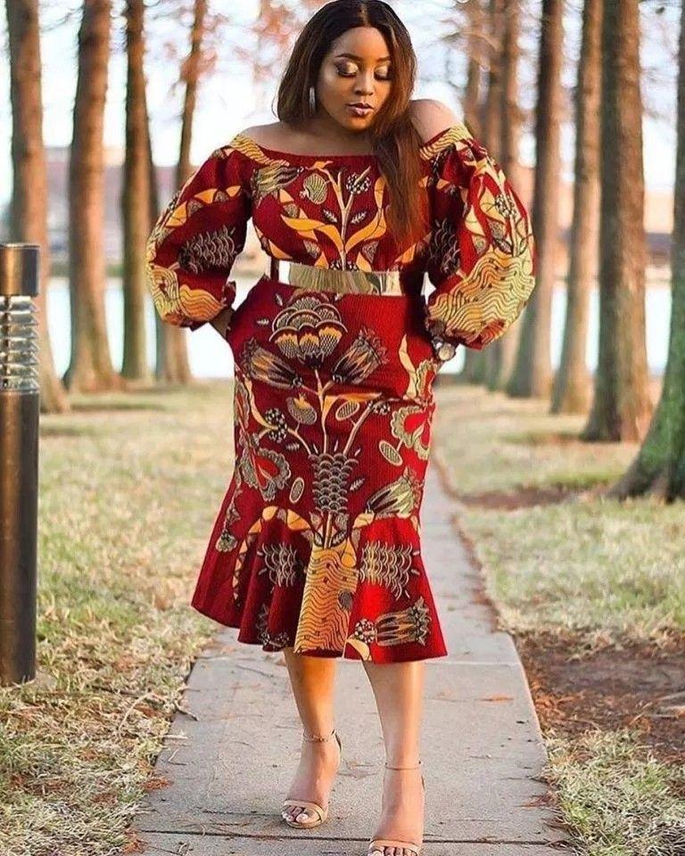 Short Red African Print Dress