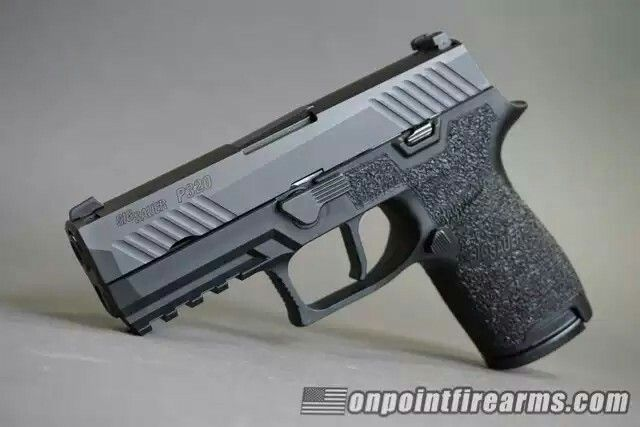 Sig P320 Compact 9mm w/ custom grip stippling and Apex Tactical flat