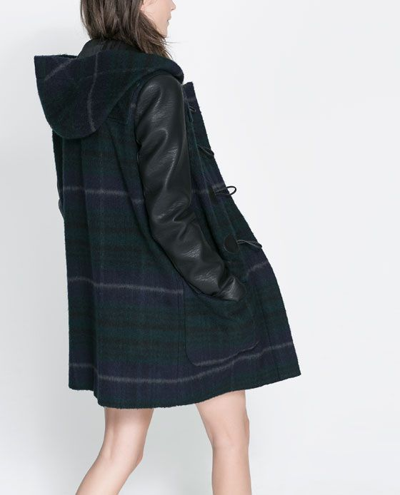 Zara COAT LEATHER FAUX WITH DUFFLE SLEEVES from CHECKED oeWdxCBr