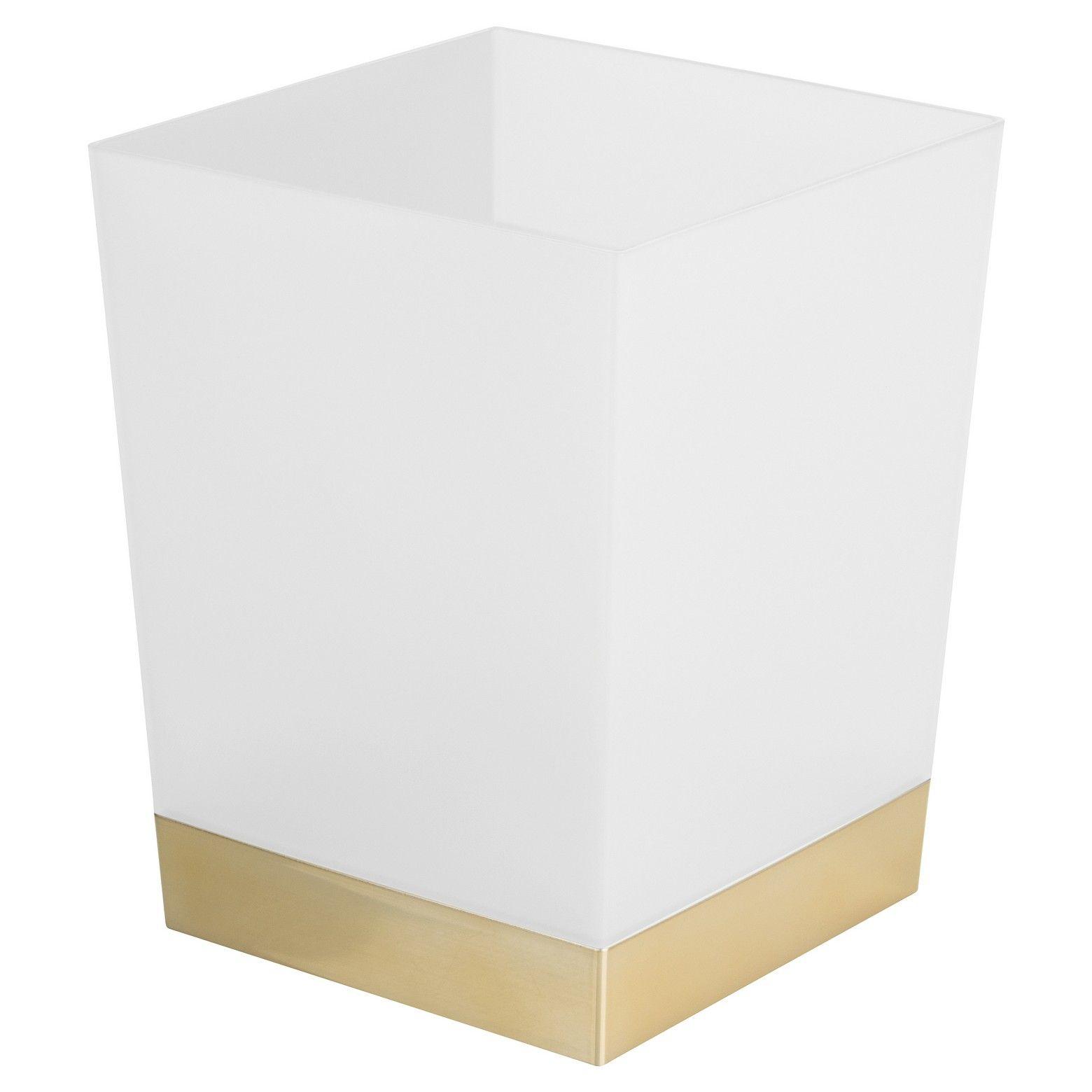 Square Bathroom Wastebasket Frost/Soft Brass - InterDesign ...