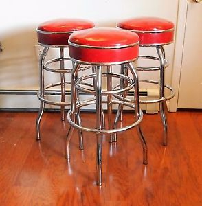 Awesome Set Of 3 1950S Art Deco Chrome Red Vinyl Bar Stools Swivel Machost Co Dining Chair Design Ideas Machostcouk