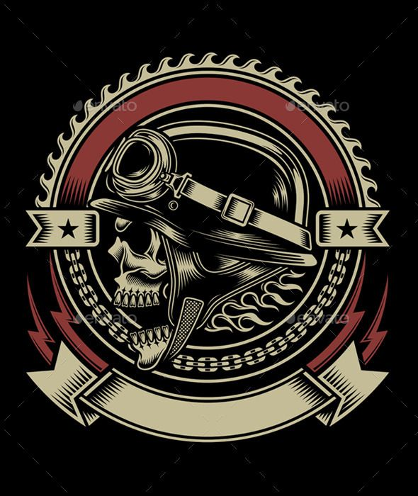 f861d8eb7 Vintage Biker Skull Emblem - Retro Technology Bobber, Tattoo Designs, Shirt  Designs, Motorcycle