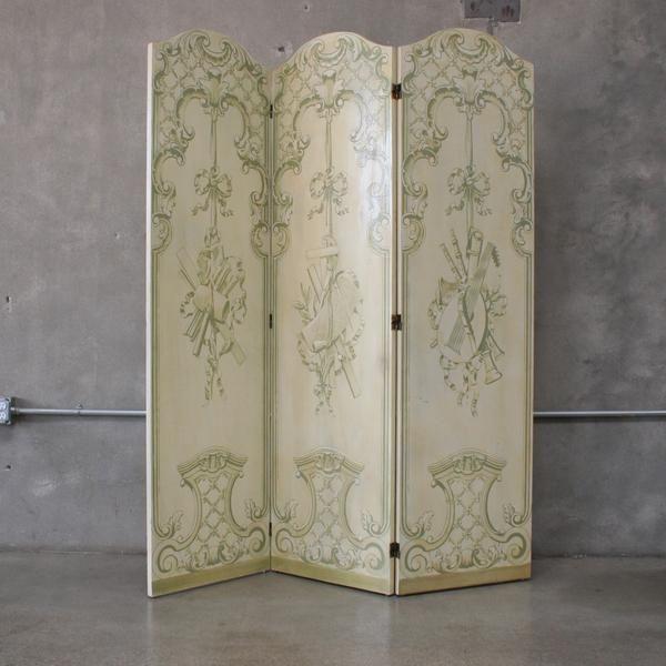 Vintage Hand Painted Tri Fold Room Divider Dressing Screen