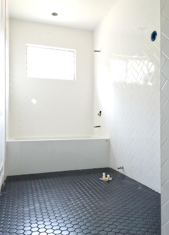 white herringbone bathroom walls brittanyMakes IDEAL HOME