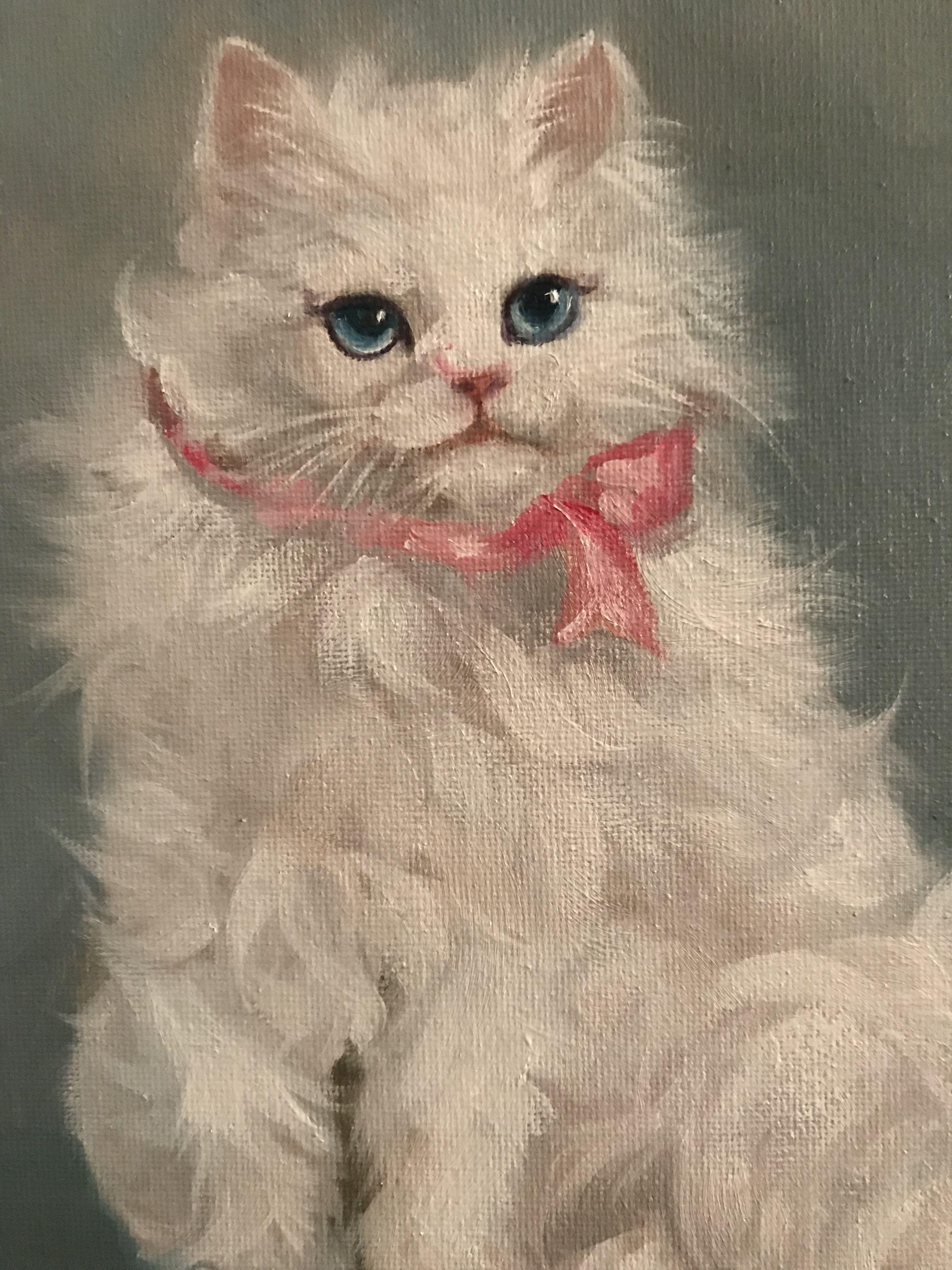 Barnes Oil Painting Persian Cat Persian Cat White Oil Painting