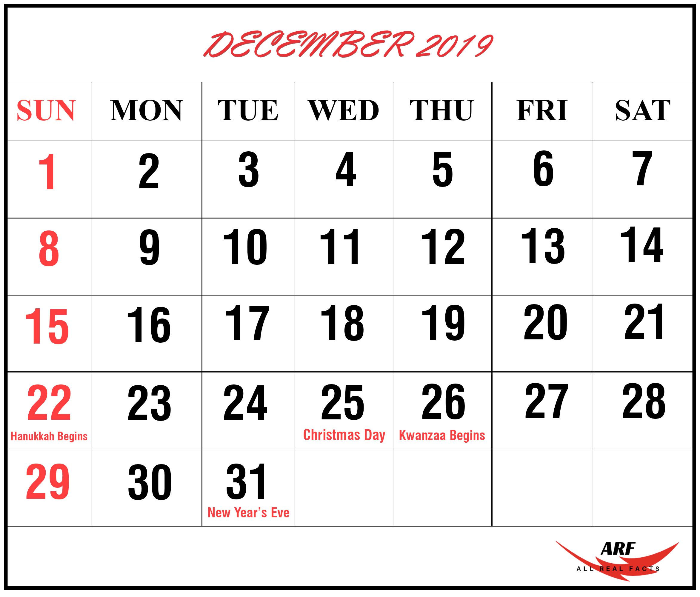 DECEMBER 2019 CALENDAR PRINTABLE WITH HOLIDAYS, #Calendar ...