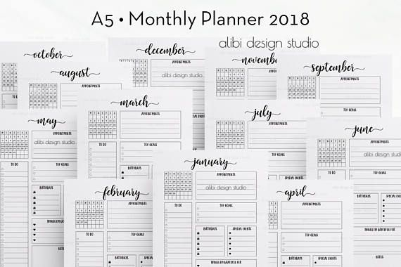 Pin by Alibi Design Studio on A5 Planner Inserts Pinterest - monthly timesheet template