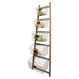 """Perfect for your pantry or entryway, this rustic-chic etagere features a wood frame with 5 basket-style tiers.  Product: EtagereConstruction Material: Wood and metalColor: NaturalFeatures: Five basket-style tiersDimensions: 73"""" H x 23"""" W x 13"""" D"""
