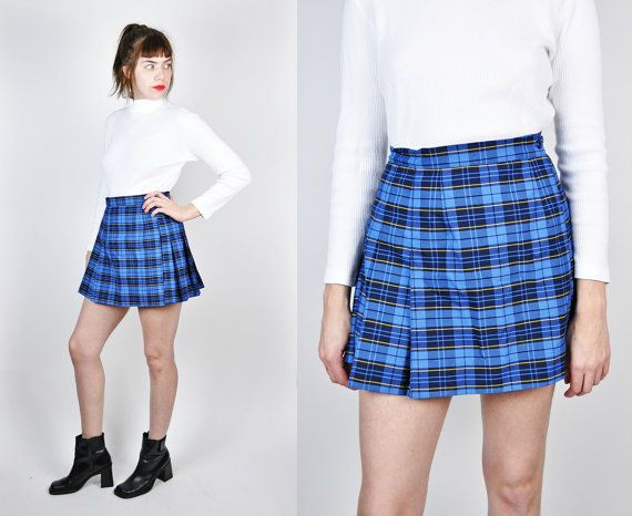 fc8a95a82b Plaid Skirt, Blue Plaid Pleated Skirt, Small, High Waisted Skirt, 90s  Schoolgirl Skirt, Plaid Mini Skirt, 90s Mini Skirt, Cheerleader Skirt