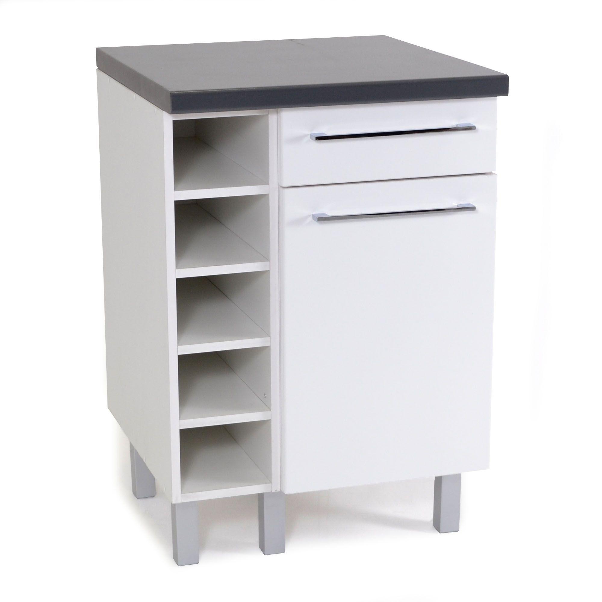 Meuble de cuisine bas 100 porte, 100 tiroir et rangements Blanc - Vita