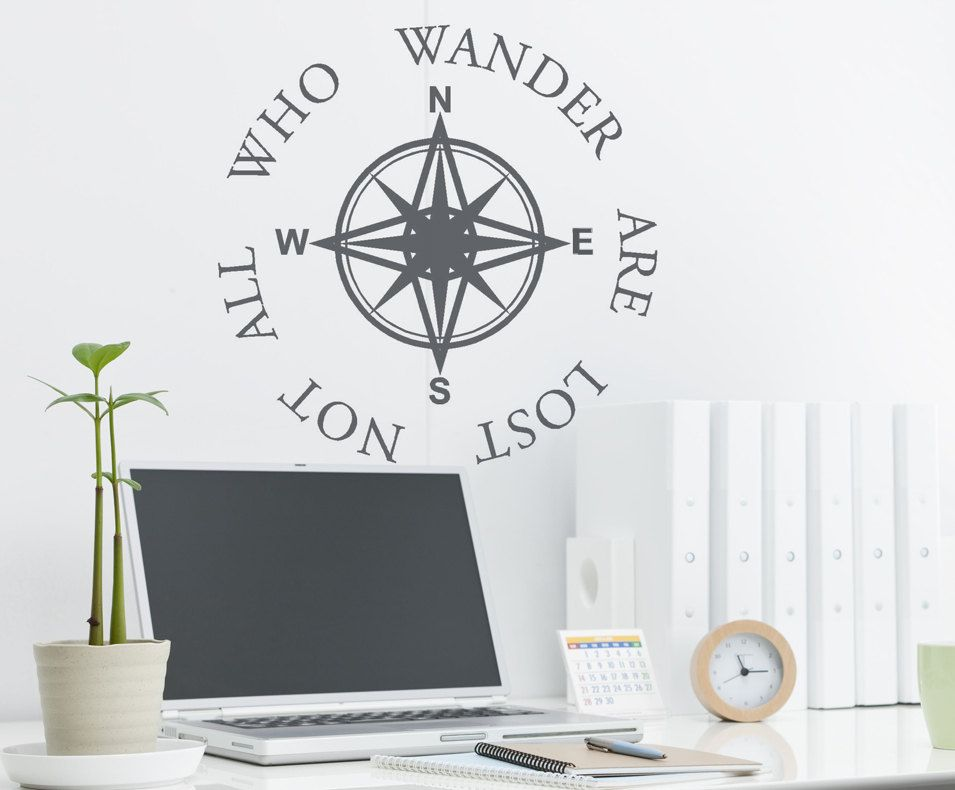 Compass Wall Decal,Nautical Wall Decal,Travel Gifts,Office ...