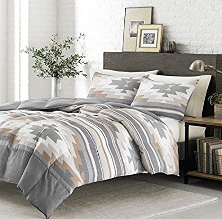 3 Piece Grey Tan White Southwest Comforter King Set Native American Southwestern Bedding Horizontal Tribal Stripes Geometric Blue Bedroom Bedroom Decor Home