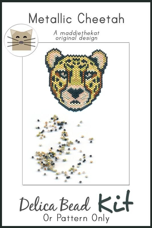 Metallic Cheetah Brick Stitch Seed Bead Pattern PDF or KIT DIY