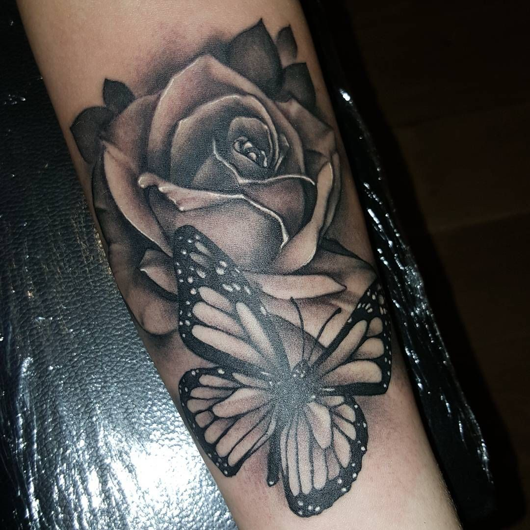 Download Free Will Nash Tattoos & Art — Rose and butterfly on forearm rea