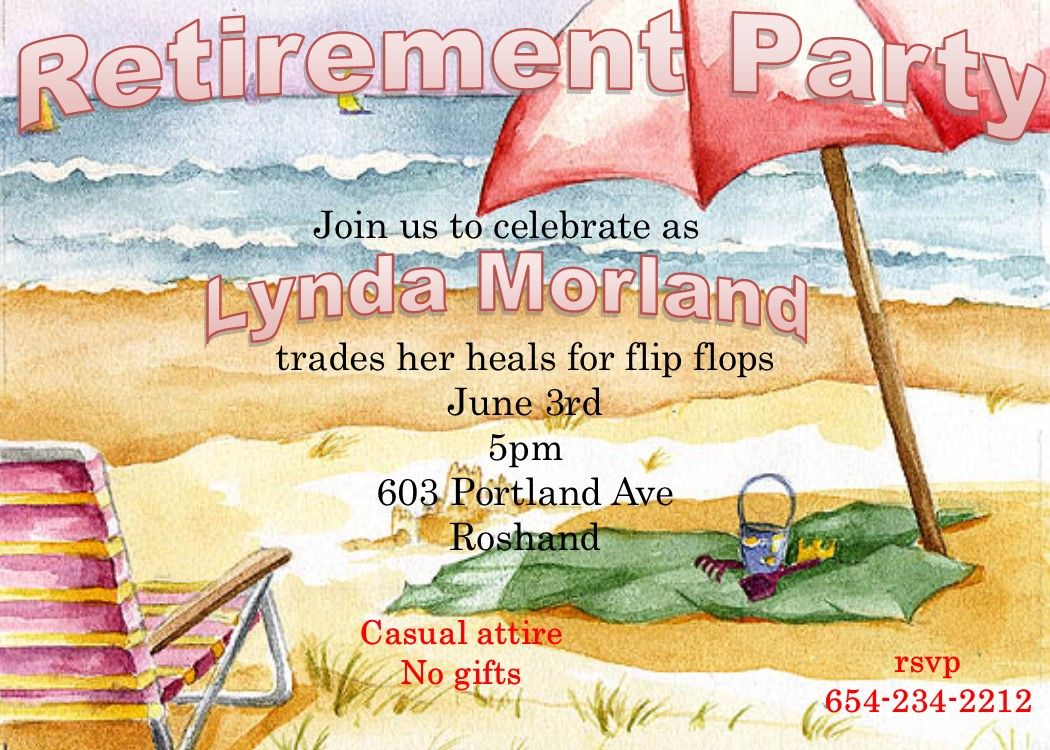 Retirement party invitations- custom made retire to the beach ...