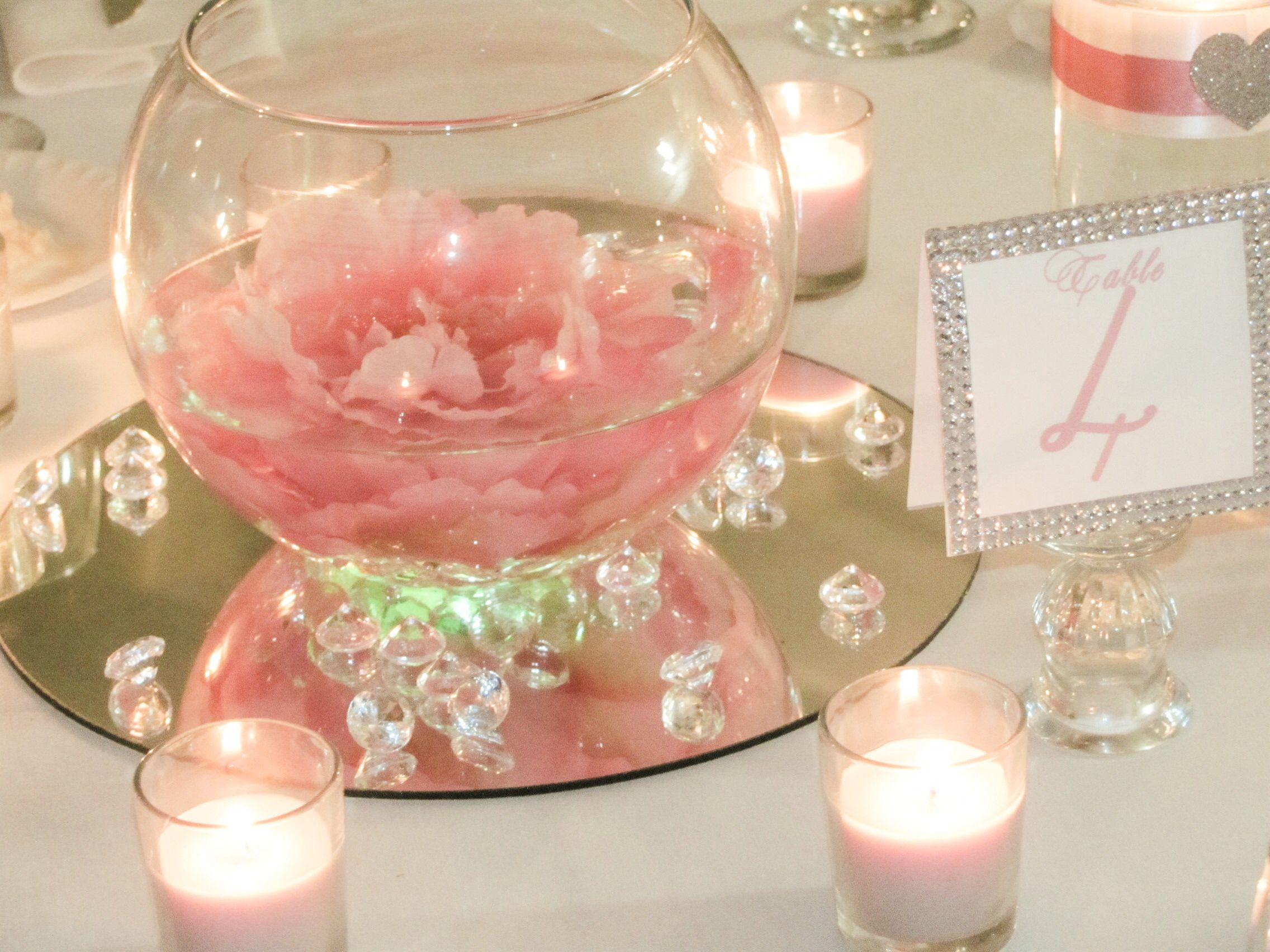 Diy Valentines Centerpiece Simple And Quick Glass Bowls La Or Michaels 12 Wedding Party Table Decorations Mirror Wedding Centerpieces Wedding Centerpieces