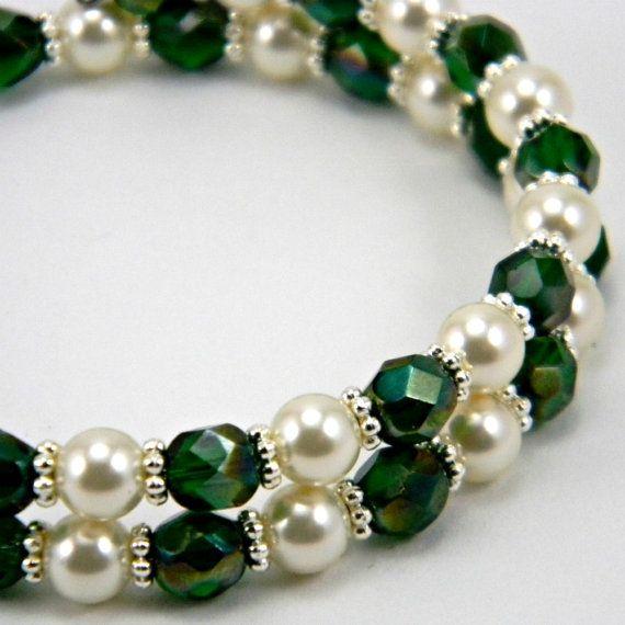 Green Bridal Bracelet  Handmade w/ Emerald Celsian Czech Glass Beads & Swarovski Pearls by OrionOctober.  http://www.etsy.com/listing/95269884/green-bridal-bracelet-handmade-w-emerald
