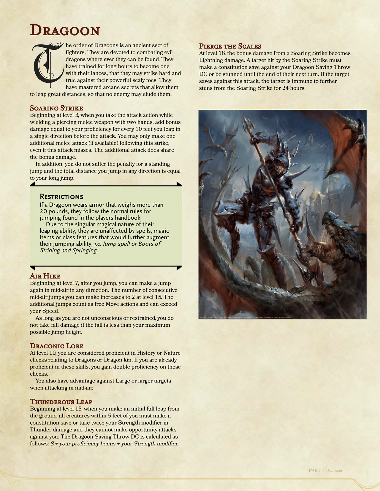 Dnd 5e Homebrew Dragoon Fighter By Ajaxx07 Dnd 5e Homebrew Dnd Dragons Dnd And if the answer is still no, then how far can a character fall without taking damage while wearing these. dnd 5e homebrew dragoon fighter by