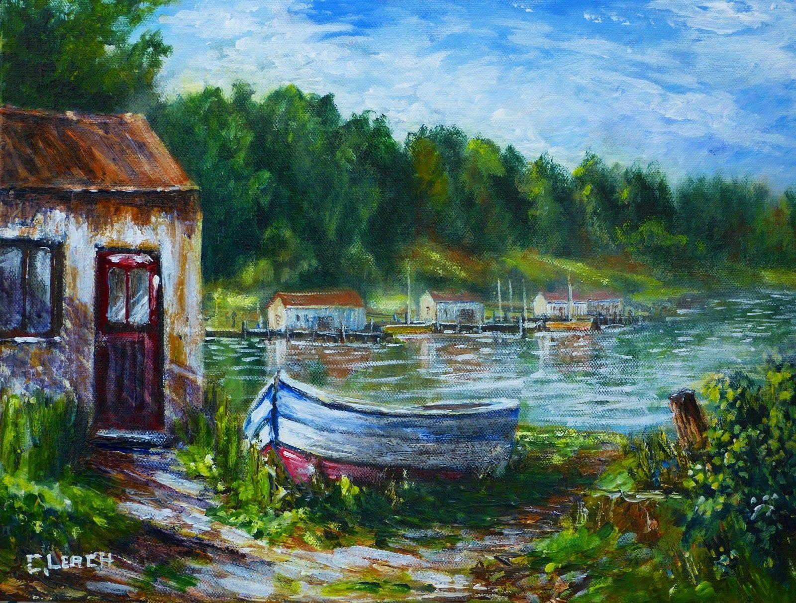 Acrylic Painting Landscape Boat new acrylic painting   Paintings ...
