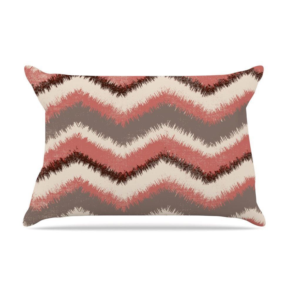 """Heidi Jennings """"Fuzzy Chevron"""" Red Brown Pillow Case 