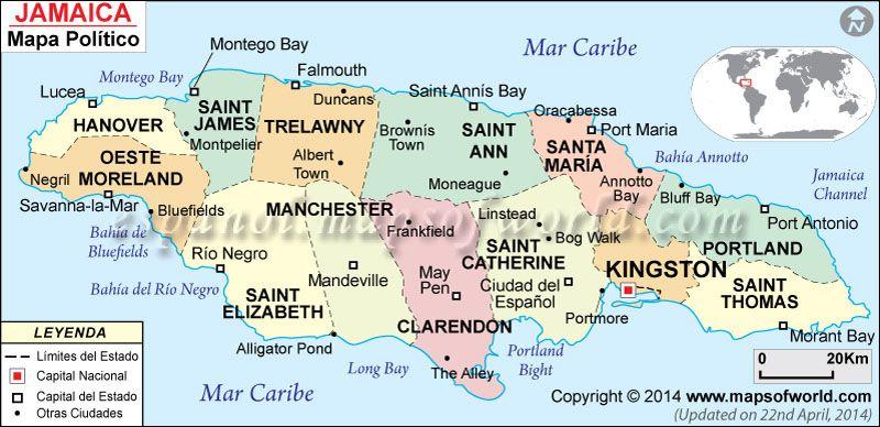 Jamaica Mapa Mapsinspanish Mapa De Países Pinterest Learn - Political map of jamaica