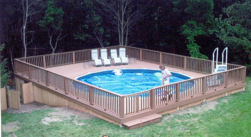 AGP deck on slope | For the Home in 2019 | Semi inground pools, Pool ...