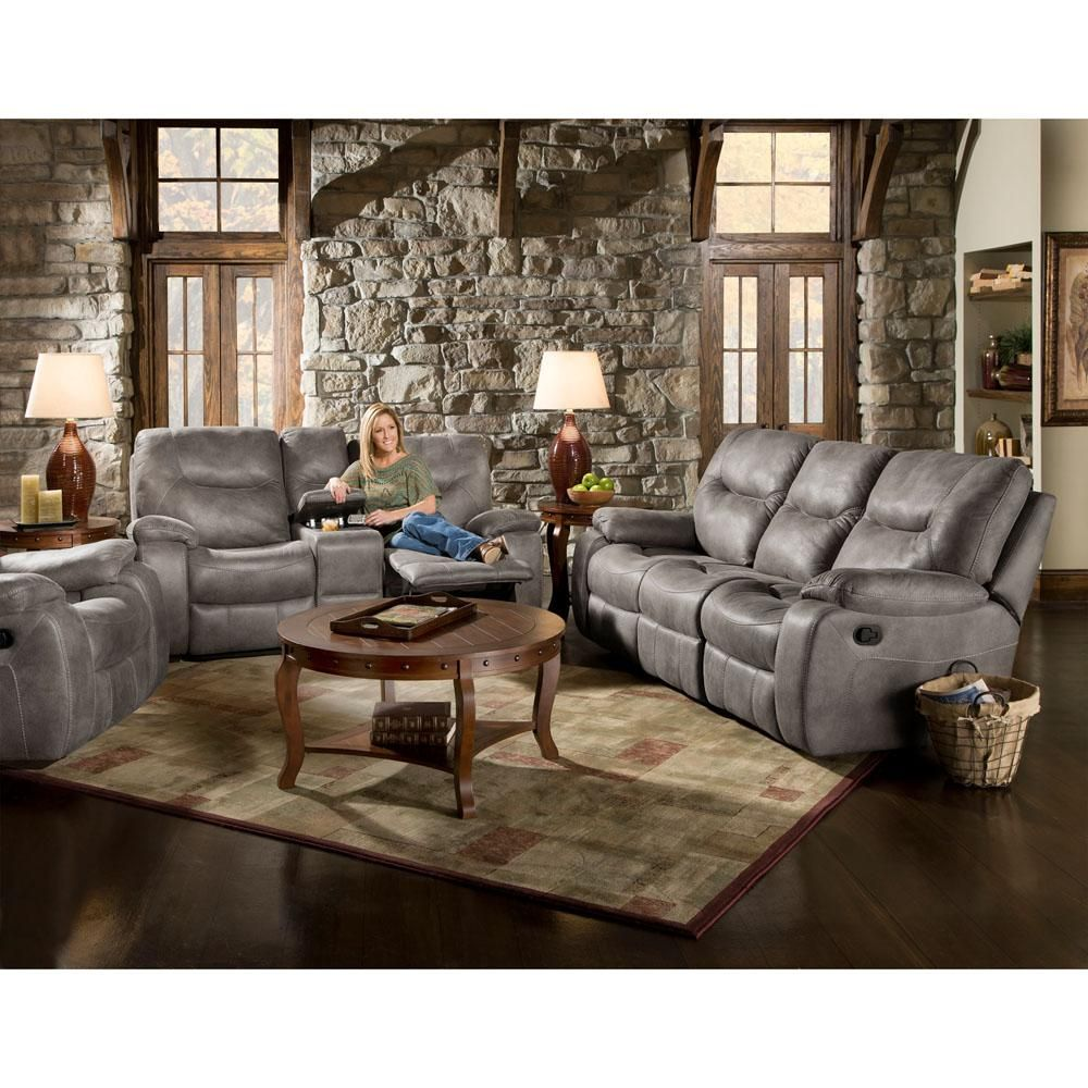 Homestead 3 Piece Steel Sofa Loveseat And Recliner Living Set Gray