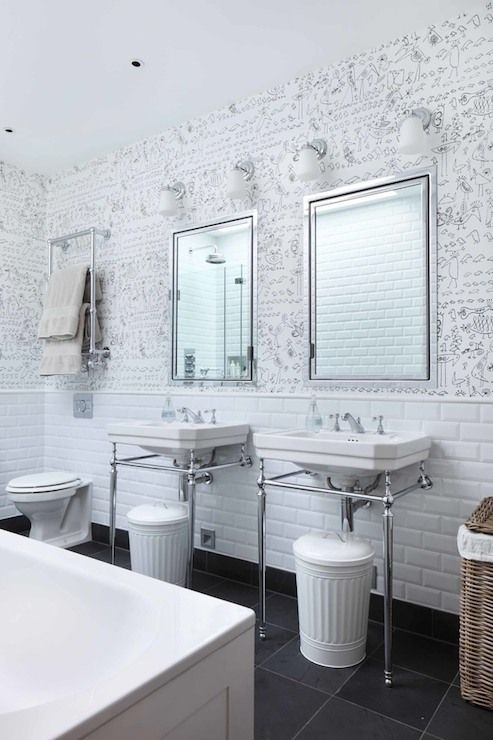 Black And White Bathroom With A Heated Towel Rail Mounted Over The Toilet Which Is Situated Beside A Pair Of Ta New Bathroom Ideas Bathroom Decor Toilet Design