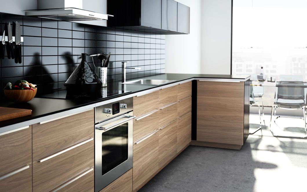 Modern Wood Finish Ikea Kitchen With Dark Worktops Dark