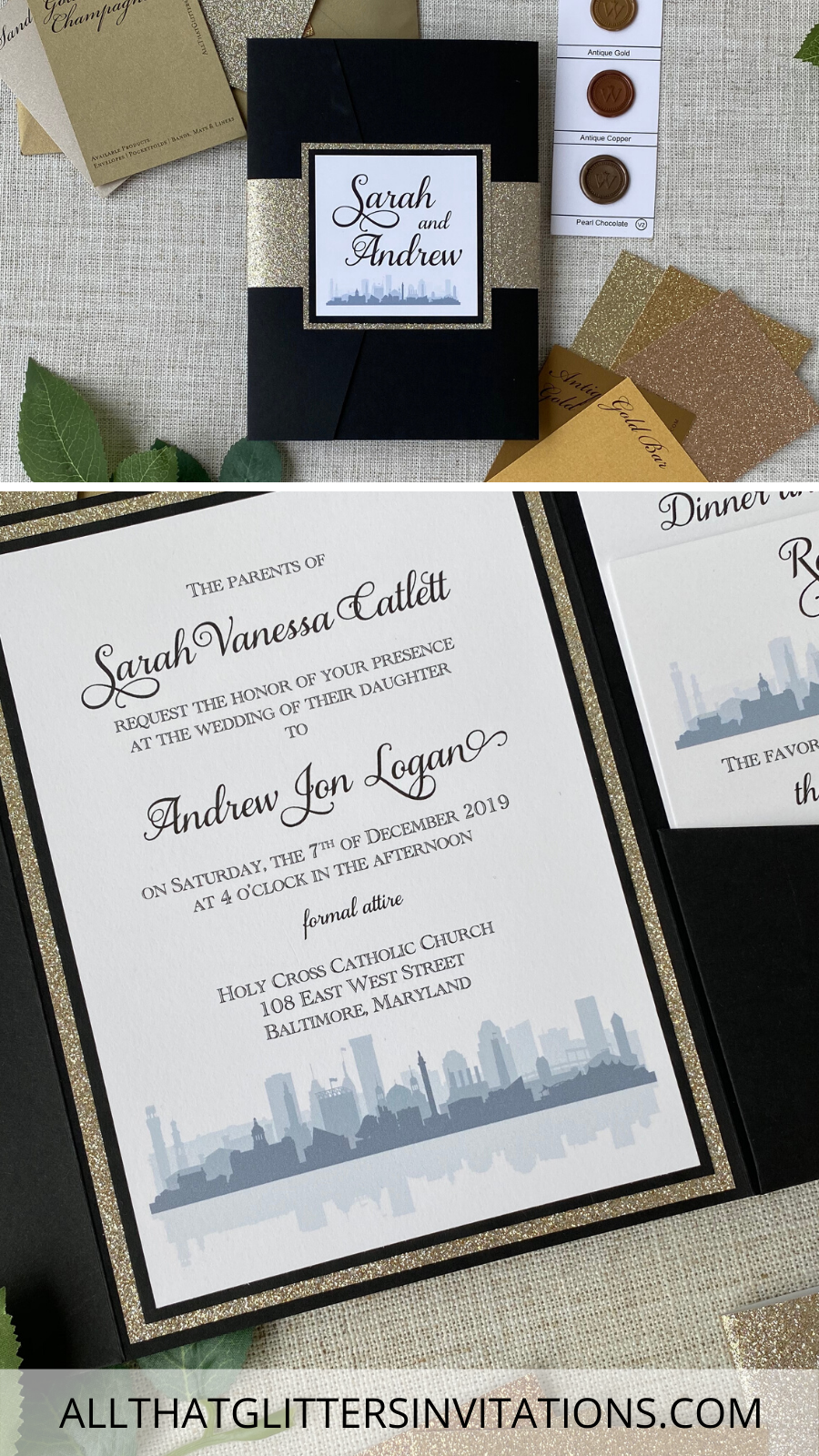 Black and Gold Skyline Wedding Invitations in 2020