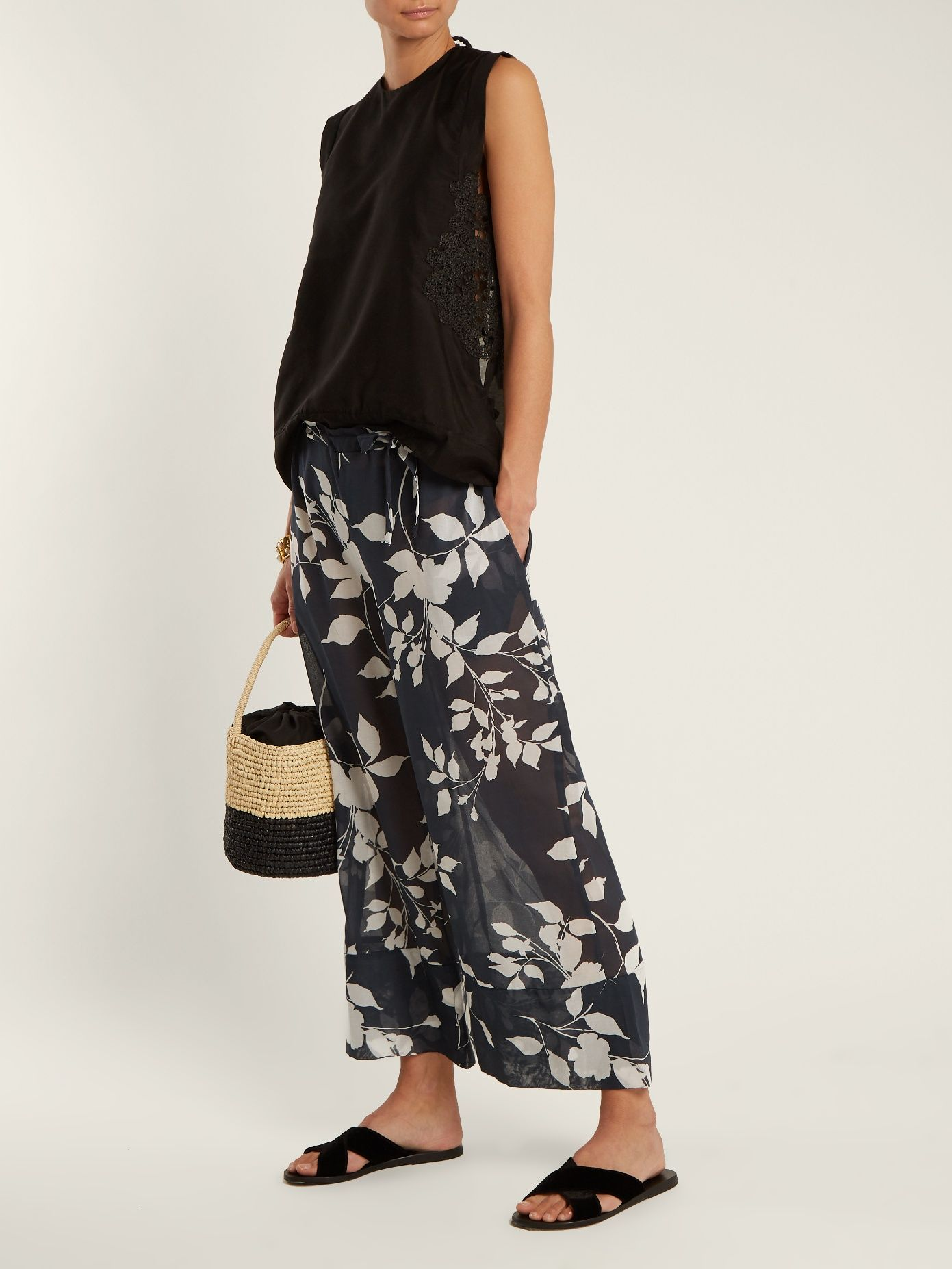 1835 wide-leg cropped cotton trousers Lila.Eug?nie iOHB7H