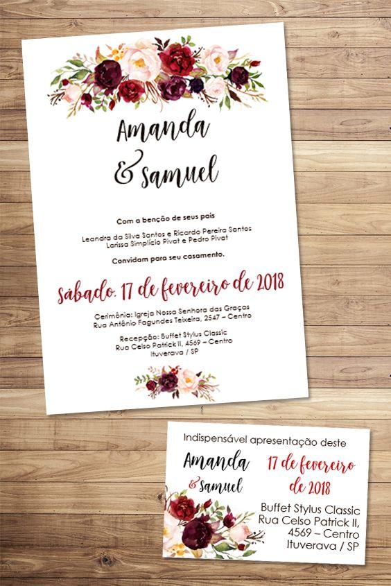 Convite Marsala Floral Editável Word Convites Editáveis Convite